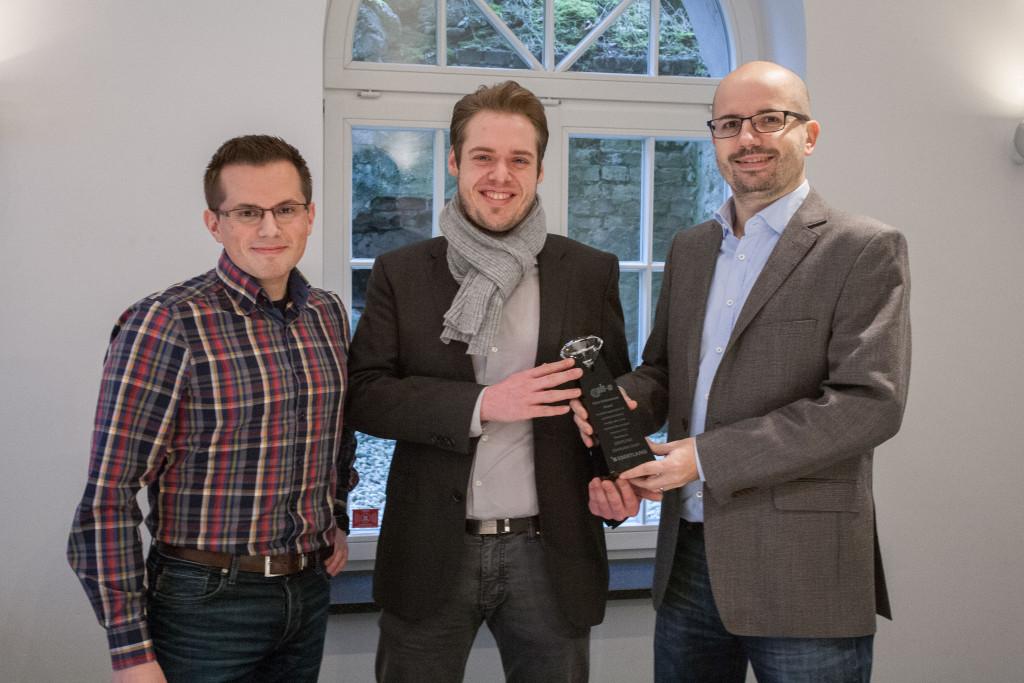 Co-CEO Steffen Ebert und die Product Manager Sebastian Rehagel und Philipp Grafe (v.r.) freuen sich über die erneute Auszeichnung