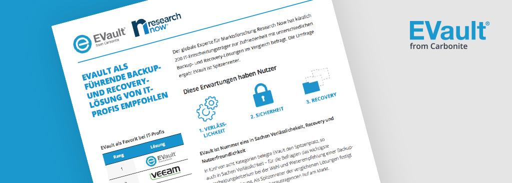 EVault Spitzenreiter in research now-Umfrage