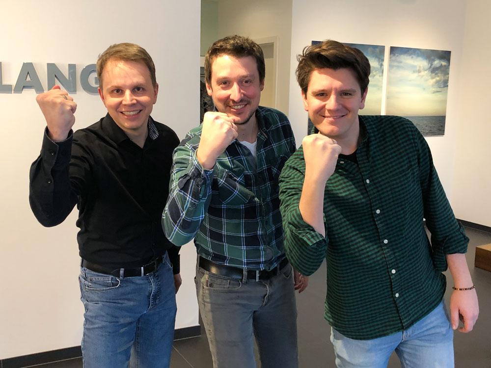 Das Gewinner-Team ohne Mannschaftskapitän Alexandra: Daniel, Steffen und Christopher (v.l.)