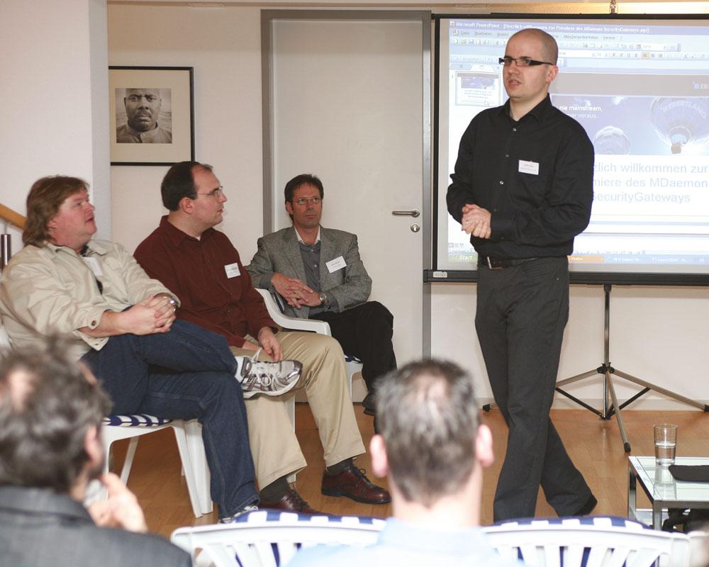 Steffen Ebert 2008 beim Launch der bis heute erfolgreichen E-Mail-Firewall SecurityGateway